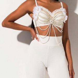 WILD THANG PEARL BUSTIER TOP AND PANT SET OF 2PCS